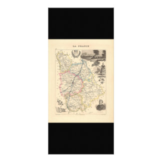 1858 Map of Vienne Department, France Full Color Rack Card