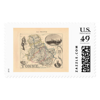 1858 Map of Yonne Department, France Postage