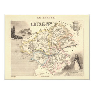 1858 Map ofLoire Inferieure Department, France 4.25x5.5 Paper Invitation Card