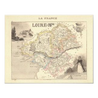 1858 Map ofLoire Inferieure Department, France 4.25x5.5 Paper Invitation Card