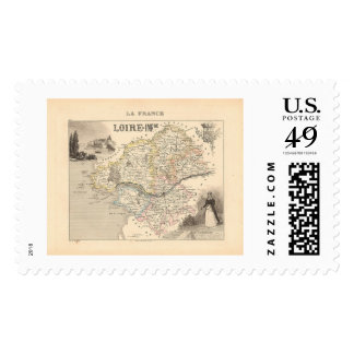 1858 Map ofLoire Inferieure Department, France Postage