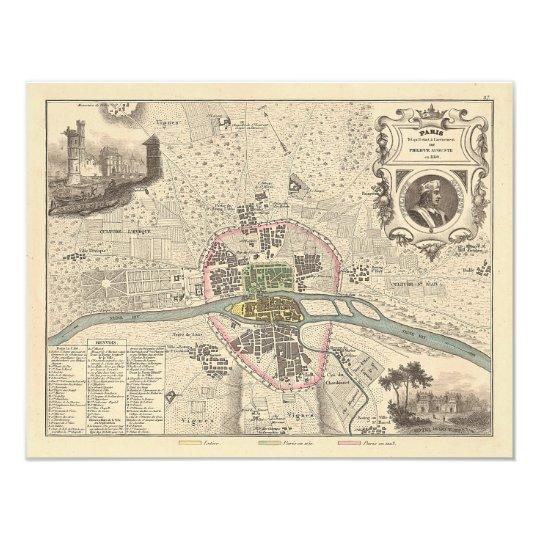 1858 Map: Paris en 1180 - France Card