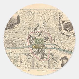 1858 Map Paris en 1180 - France Classic Round Sticker