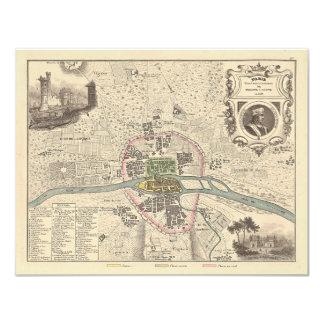 "1858 Map: Paris en 1180 - France 4.25"" X 5.5"" Invitation Card"