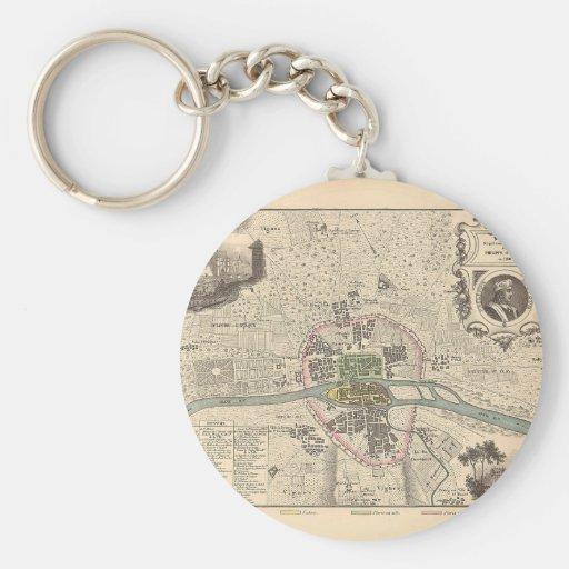 1858 Map Paris en 1180 - France Key Chain