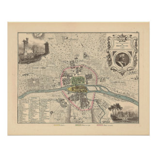1858 Map Paris en 1180 - France Poster