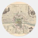 1858 Map Paris en 1180 - France Round Stickers