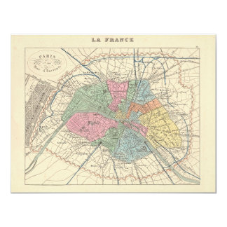 1858 Map Paris et son Mur d'Enceinte - France 4.25x5.5 Paper Invitation Card
