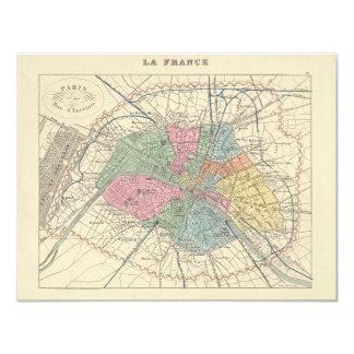 1858 Map Paris et son Mur d'Enceinte - France Card