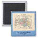 1858 Map Paris et son Mur d'Enceinte - France Fridge Magnets