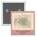 1858 Map Paris et son Mur d'Enceinte - France Pin