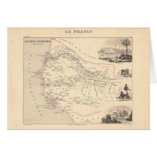 1858 Map - Senegambie (Senegal) - France Greeting Cards