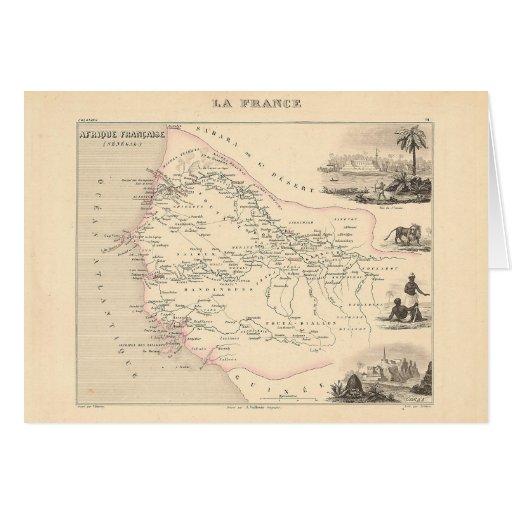1858 Map - Senegambie (Senegal) - France Greeting Cards