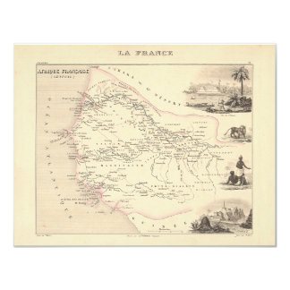 "1858 Map - Senegambie (Senegal) - France 4.25"" X 5.5"" Invitation Card"