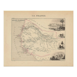 1858 Map - Senegambie (Senegal) - France Poster