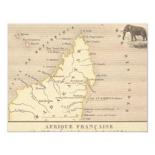 """1858 mapa Afrique Francaise: Iles Ste Marie, Invitación 4.25"""" X 5.5"""""""