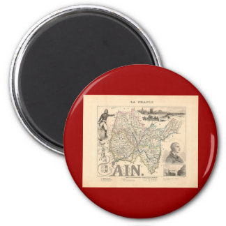 1858 mapa del departamento Ain, Francia Imán Redondo 5 Cm