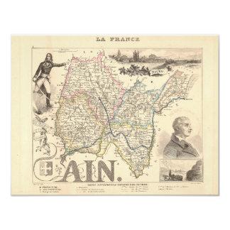 1858 mapa del departamento Ain, Francia Invitacion Personalizada