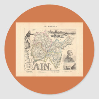 1858 mapa del departamento Ain Francia Pegatina Redonda