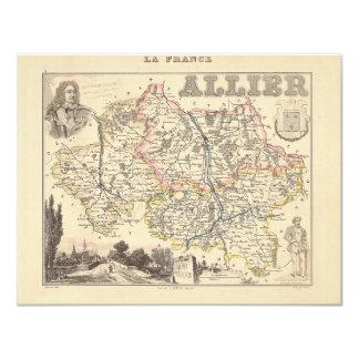 1858 mapa del departamento de Allier, Francia Comunicado