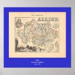 1858 mapa del departamento de Allier, Francia Impresiones