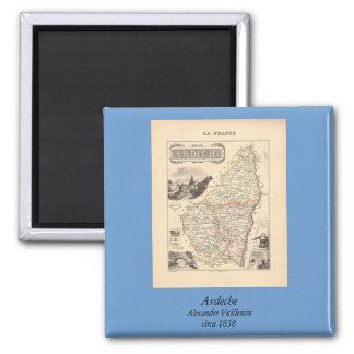 1858 mapa del departamento de Ardeche, Francia Imán Cuadrado