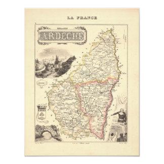 1858 mapa del departamento de Ardeche, Francia Comunicado Personal
