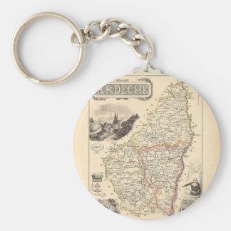 1858 mapa del departamento de Ardeche, Francia Llaveros Personalizados
