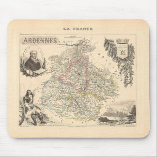 1858 mapa del departamento de Ardenas, Francia Alfombrillas De Raton
