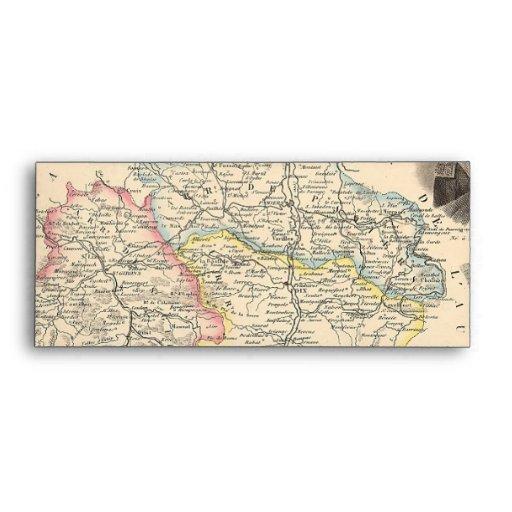 1858 mapa del departamento de Ariege, Francia