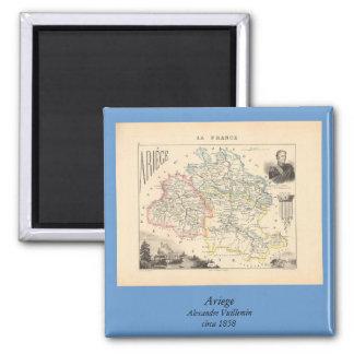 1858 mapa del departamento de Ariege, Francia Imán Cuadrado