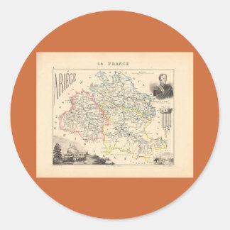 1858 mapa del departamento de Ariege Francia Etiquetas Redondas