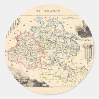 1858 mapa del departamento de Ariege Francia Pegatina