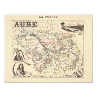 1858 mapa del departamento de Aube, Francia Invitación