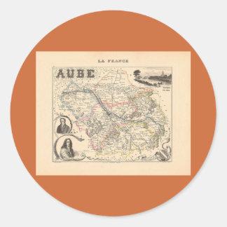 1858 mapa del departamento de Aube Francia Pegatinas