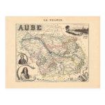 1858 mapa del departamento de Aube, Francia Postal