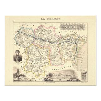 1858 mapa del departamento de Aude, Francia Invitaciones Personalizada