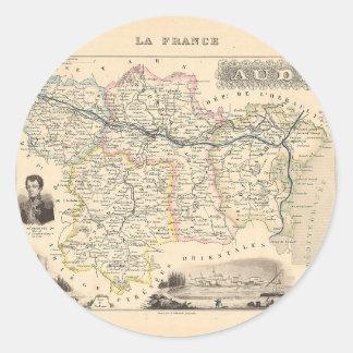 1858 mapa del departamento de Aude Francia Pegatinas Redondas
