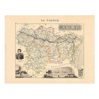 1858 mapa del departamento de Aude, Francia Tarjetas Postales