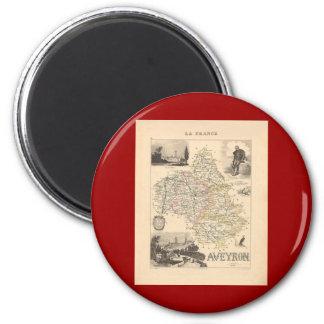 1858 mapa del departamento de Aveyron, Francia Imán Redondo 5 Cm
