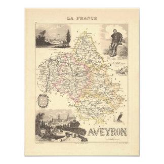 1858 mapa del departamento de Aveyron, Francia Comunicados Personales