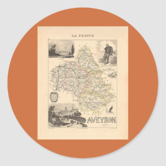 1858 mapa del departamento de Aveyron Francia Etiqueta