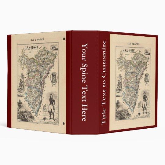 """1858 mapa del departamento de Bas-Rhin, Francia Carpeta 2"""""""