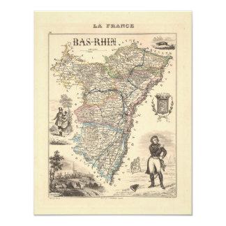 1858 mapa del departamento de Bas-Rhin, Francia Comunicado Personalizado