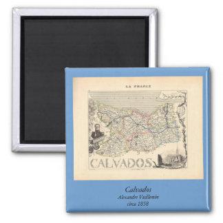 1858 mapa del departamento de Calvados, Francia Imán Cuadrado