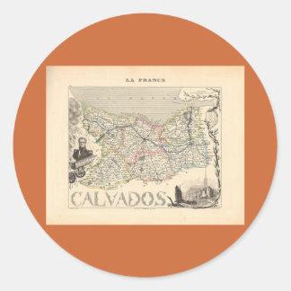 1858 mapa del departamento de Calvados Francia Pegatinas