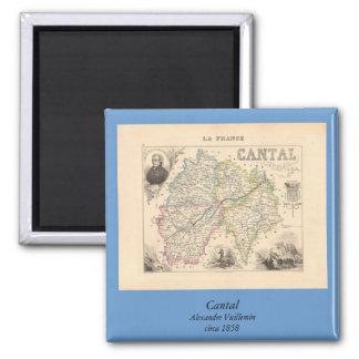 1858 mapa del departamento de Cantal, Francia Imán Cuadrado