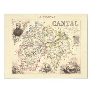 1858 mapa del departamento de Cantal, Francia Comunicados Personales