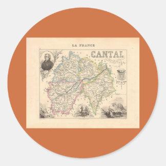 1858 mapa del departamento de Cantal Francia Etiquetas