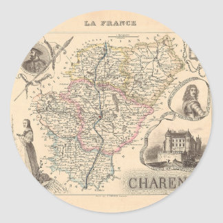 1858 mapa del departamento de Charente Francia Etiquetas Redondas